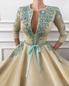 Flemish Desire Gown Details - Creamy color - Mesh Net fabric - Handmade embroidered flowers and crystals - Handmade embroidered belt - Ball-gown style Elegant Dresses, Pretty Dresses, Beautiful Dresses, Evening Dresses, Prom Dresses, Formal Dresses, Couture Dresses, Fashion Dresses, Cooler Look