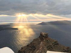 December view from Sophia Luxury Suites Santorini to Skaros & Caldera. Beautiful & Wild! | #santorini #caldera