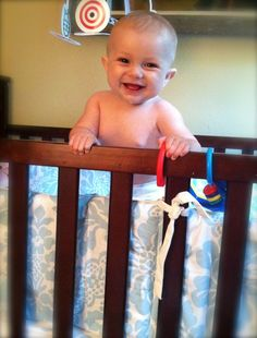 Baby Henry standing up in his crib for the first time!