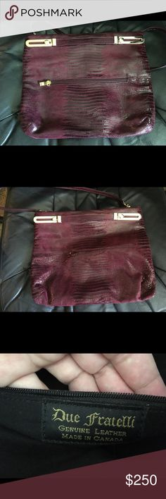 Selling this Due Fratelli genuine hand bag/clutch- wine on Poshmark! My username is: edp1983. #shopmycloset #poshmark #fashion #shopping #style #forsale #Due Fratelli #Handbags