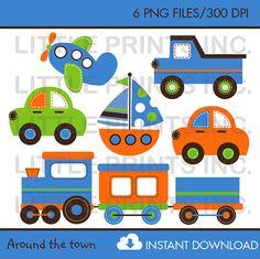 Transportation Clip Art INSTANT DOWNLOAD by LittlePrintsParties, $5.00