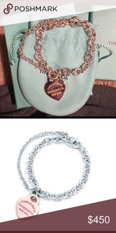 Tiffany & Co. Double Chain Heart Tag Bracelet. I am selling a brand new Tiffany & Co. Double Chain Heart Tag Bracelet. This bracelet has never been worn. The bracelet is sterling silver and the heart charm is rubedo metal. This bracelet is $575 brand new on the Tiffanys website and I am asking for $450 Tiffany & Co. Jewelry Bracelets
