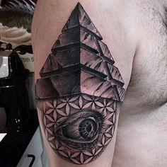 What does pyramid tattoo mean? We have pyramid tattoo ideas, designs, symbolism and we explain the meaning behind the tattoo. 3d Tattoos, Life Tattoos, Sleeve Tattoos, Tatoos, Mason Jar Tattoo, Pyramid Tattoo, Egyptian Tattoo Sleeve, Symbolic Tattoos, Tattoos With Meaning