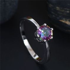 Free Shipping Pretty 925 sterling silver Multicolor CZ Zirconia Charming Wedding Ring Size 5 6 7 8 9