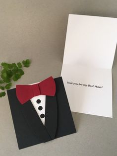 Groomsman Wedding Invitation Black Tuxedo Bow Tie card | Etsy