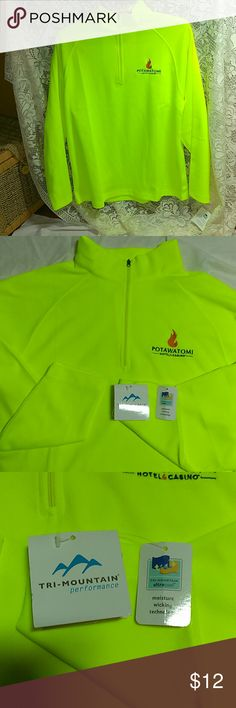 "Tri Mountian Long Sleeve Shirt New with tags. Tri Mountian performance long sleeve shirt in neon yellow. Potwatomi Casino logo on chest. Tri Mountian ultra cool moisture wicking technology. Collar zips up to convert into cowl neck. Neon yellow makes wearer more visible when outdoors for safety. Great for the sports enthusiast or anyone that works or plays outdoors. Unisex size Small( men's small, women's large to extra large) 28"" long sleeves, 27"" length and 21 1/2"" wide laying flat. New…"