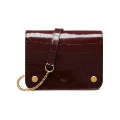 Clifton in Burgundy Polished Embossed Croc | Clifton | Mulberry