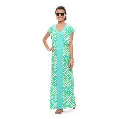 Graceful in Geo Silk Maxi Dress