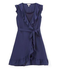 Monteau Girl Navy Blue Ruffle-Trim Tie-Accent Surplice Dress   zulily