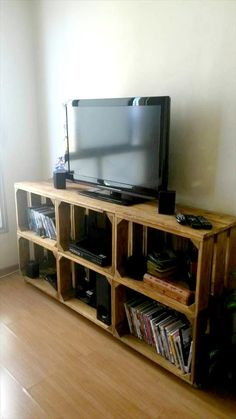 Pallet Media Cabinet + Storage Boxes | 99 Pallets