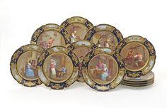 Set de sobremesa em porcelana Francesa do sec.19th Estilo Sevres, 12px, 10,280 USD / 9,240 EUROS / 41,055 REAIS / 67,120 CHINESE YUAN soulcariocantiques.tictail.com