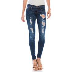 Flying Monkey Destructed Skinny Jeans ($60) ❤ liked on Polyvore featuring jeans, blue, torn jeans, destructed skinny jeans, destructed jeans, distressed jeans and ripped jeans