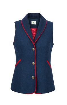 Chloe Navy Waistcoat with Red Trim – Maquien
