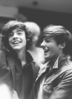 1D One Direction - Harry Styles & Louis Tomlinson smiling fetus greyscale | So beautiful | I ship it. I ship it to the ends of this earth. And beyond. This picture means the world.