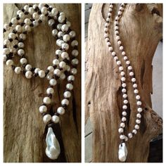 LONG Freshwater Baroque Pearls and Leather Necklace on Etsy, $225.00