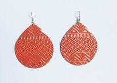 Orange Geometric Earrings. Tribal Ethnic Jewelry