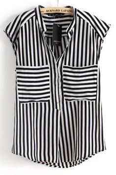 Black White Vertical Stripe Short Sleeve Chiffon Blouse pictures $25