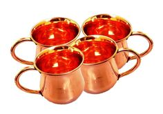 Old Fashion Smooth Moscow Mule Mug Copper Moscow Mule Mug Copper Handle.Set Of 4 #Visvabhavanah