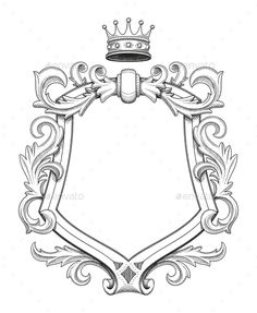 Blank baroque shield with floral ornament and stroked shades. Hand drawn vintage heraldic insignia design isolated on white. Old style flourish swirls and rococo decor.