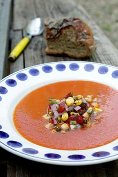 Roasted Tomato Soup with Corn Salsa recipe   davidlebovitz.com