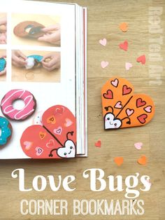 Love Bug Bookmark Designs is part of Kids Crafts Bookmarks Valentines Day - Easy Love Bugs Quick & Easy Valentines Bookmark Designs that the kids will love and can make themselves Great gifts for Valentine's Day Love bug crafts Origami Bookmark Corner, Bookmark Craft, Bookmarks Kids, Corner Bookmarks, Bookmark Ideas, Winter Crafts For Kids, Paper Crafts For Kids, Crafts For Kids To Make, Children Crafts