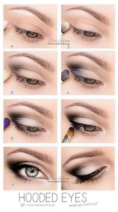 So pretty-------Hooded Eyes Makeup. This works so well for hooded eyes, you wouldn't believe it until u try. It's not that drastic, mostly black eyeshadow, eyeliner and mascara. But it makes a huge difference Eye Makeup Tips, Makeup Hacks, Skin Makeup, Beauty Makeup, Makeup Ideas, Makeup Products, Mac Makeup, Makeup Brushes, Beauty Products