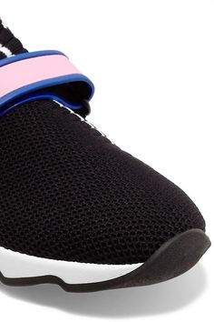 Buckled Rubber-Trimmed Stretch-Knit SneakersPrada