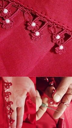 Making of Love Color Red Pearl Beaded Flower Crochet Lace Modelo - oya - Crochet Flowers, Crochet Lace, Crochet Stitches, Crochet Patterns, Border Embroidery, Hand Embroidery, Crochet Earrings Pattern, Valentine's Day Outfit, Embroidery Fashion