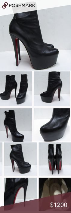 "Christian Louboutin Daf Booty ankle boots Black leather 160 mm (6.5"" heel, 2.5"" platform) size 41 in excellent condition only signs of wear are on bottoms, minimal Christian Louboutin Shoes Ankle Boots & Booties"