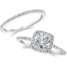 1.25CT GIA Certified Diamond Engagement Ring Set Cushion Halo Matching Wedding Band 14 KT White Gold on Etsy, $3,202.04 CAD