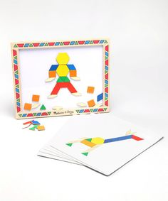 Take a look at this Melissa & Doug Pattern Block Magnet Kit on zulily today! Preschool Art Projects, School Projects, Projects For Kids, Crafts For Kids, Preschool Math, Traditional Toys, Wheels On The Bus, Shape Matching, Melissa & Doug