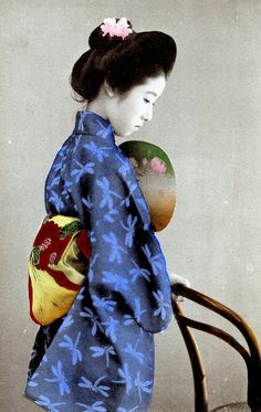 Dragonfly Kimono 1905   ::   The dragonfly is a late summer to early autumn motif. ( colorized photo )