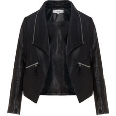 Zizzi Black Plus Size Zip collar leather biker jacket (€88) ❤ liked on Polyvore featuring outerwear, jackets, tops, leather jackets, black, plus size, genuine leather jacket, straight jacket, leather motorcycle jacket and plus size jackets