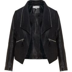 Zizzi Black Plus Size Zip collar leather biker jacket ($105) ❤ liked on Polyvore featuring outerwear, jackets, coats, leather, black, plus size, motorcycle jacket, moto jacket, plus size leather jacket and biker jacket