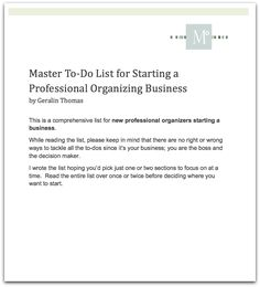 A great CHECKLIST for starting a professional organizing business.