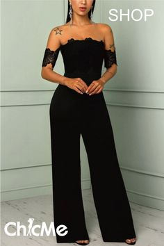 Lace Splicing Off Shoulder Wide Leg Jumpsuits Lace Splicing Off Shoulder Wide Leg Jumpsuits - - Jumpsuits and Romper Jumpsuit With Sleeves, Mesh Jumpsuit, Lace Ruffle, Jumpers For Women, Edgy Outfits, Skinny, Jumpsuits For Women, Pattern Fashion, Wide Leg Pants