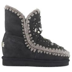 ae76a316b2d8 Mou Inner Wedge Stones & Crystals Black - MOU #mou #boots #wedge