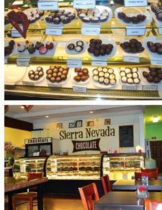 Photos by Megg Mueller: Sierra Nevada Chocolate Company's cases are full of gorgeous and incredible truffles. The store also serves locally made Blind Dog Coffee, and offers tables and a lounge area.