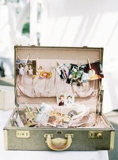 alternative to preparing photo albums or slideshows for a reception. or have everyone bring a picture of themselves with the bride from a favorite memory with maybe a little message across the back for a bridal party