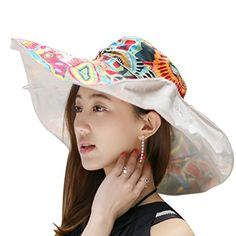 Sun Hats, Women Ladies Girls Fashion Large Brim Floppy Sun Protection Foldable Summer Bucket Hat Headwear Lightweight Holiday Outdoor Hiking Camping Travel Beach Hats Cap Topee UPF 50  Beige >>> You can find out more details at the link of the image.