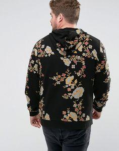 ASOS PLUS Hoodie With Japanese Floral Print - Black 3fe4912aa
