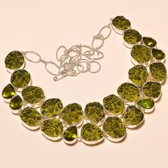 MOLDAVITE WITH FACETED LOVELY PERIDOT FRIENDSHIP GIFT .925 SILVER NECKLACE #Handmade #Choker