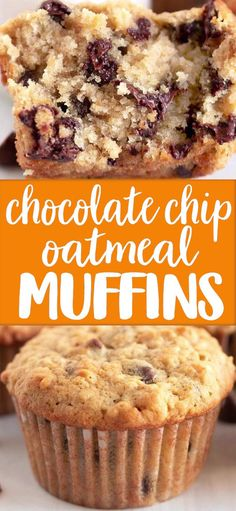 chocolate chip cookie dough Oatmeal Chocolate Chip Muffins are perfect for breakfast, snacks or your mid morning coffee break, theyre tender, delicious and AMAZING! Köstliche Desserts, Best Dessert Recipes, Delicious Desserts, Yummy Food, Healthy Food, Healthy Cake, Healthy Drinks, Healthy Eating, Coffee Recipes
