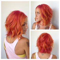 Hair by Andrea Hansen: rainbow sherbet, mango, raspberry hair! Oooh buddy, if people wouldn't judge I would so have this hair! Love Hair, Gorgeous Hair, Raspberry Hair, Raspberry Sherbert, Sunset Hair, Ombre Hair, Coloured Hair, Colored Weave, Bright Hair