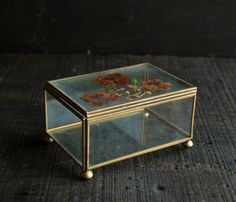 Vintage Curio Jewelry Box- Rustic Victorian with Dried Flowers. $24.00, via Etsy.
