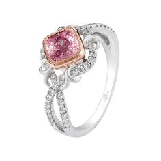 "Brides.com: . Style R2771/C1-WRFS2, ""Lyria"" 18K gold ring with intertwining rows of diamonds and a .85 carat cushion-cut pink sapphire with a touch a rose gold, $2,825, Parade Design  See more Parade Design engagement rings."