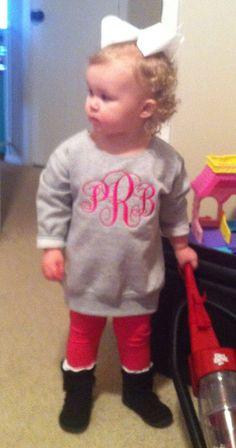 This will so be my kid one day! Girls Jumbo Monogram Sweatshirts-Toddler Sizes on Etsy, $22.00