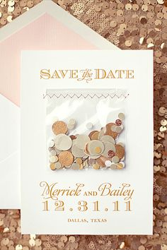 Save the date cards with confetti | Southern Fried Paper