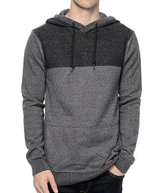 050f33e02da Elevate your basics with the Roald grey and charcoal knit hoodie from Dravus.  The color
