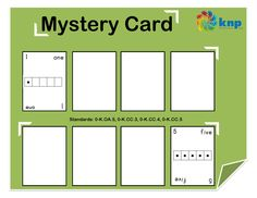 """Mystery Card"" - Read and match quantities and numbers to 5.  Supports learning Common Core Standards: 0-K.OA.5, 0-K.CC.3, 0-K.CC.4, 0-K.CC.5 [KNP Task # S 2243.0]"